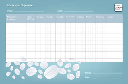 Medication Schedule Template. Drugs And Pills Tracker. For Doctors, Clinics And Pharmacy 免版税图像 - 151168699