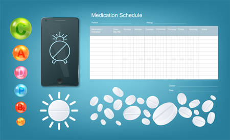 Digital Medication Schedule Set. Vector Drugs Tracker List, Smartphone Reminder, Vitamins And Pills Illustration.