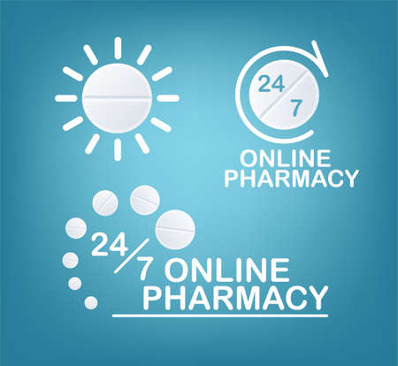 Online Pharmacy Concepts. Set Of Vector  Template