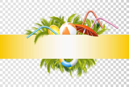 Bright Summer Banner Template With Photo Realistic Palms Foliage, Inflatable Ball, Ring, Umbrella.