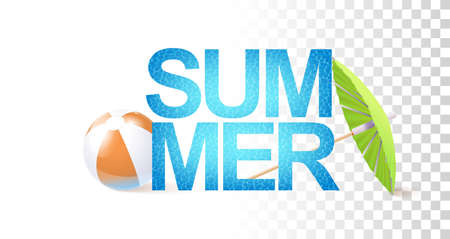 Bright Summer Sign Template With Photo Realistic Inflatable Ball, Water Texture And Umbrella. 矢量图像