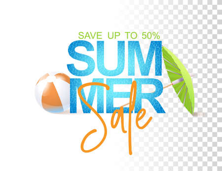 Bright Summer Sale Template With Photo Realistic Inflatable Ball, Water Texture And Umbrella. Vector Illustration On Trnsparent Background 矢量图像