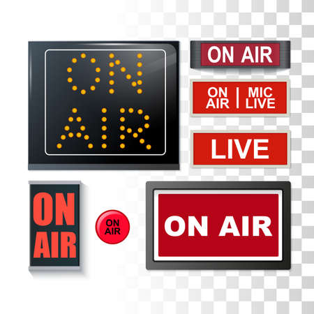 Various On Air Broadcasting Signs Set Isolated On Transparent Background 免版税图像 - 151169555