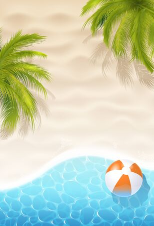 Sunny Bright Sand Beach, Green Palms, Inflatable Ball And Sea Water Background. Vector Photo Realistic Illustration. Top View