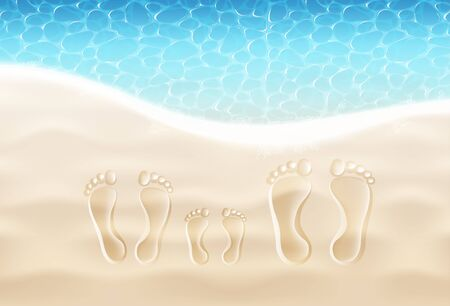 Mom, Dad And Kid Footprints On The Sand Beach Near The Sea Surf. Summer Vacation Family Concept. Vector Realistic Illustration. Top View