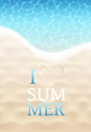 I Love Summer Sign On Sand Beach And Sea Water Background. Vector Photo Realistic Illustration. Top View