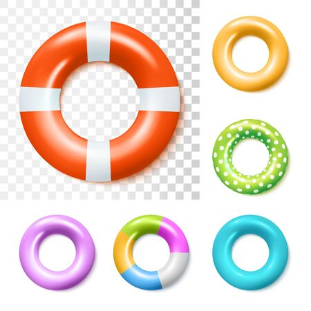 Set Of Colorful Inflatable Rubber Rings. Vector Photo Realistic Illustration. Top View