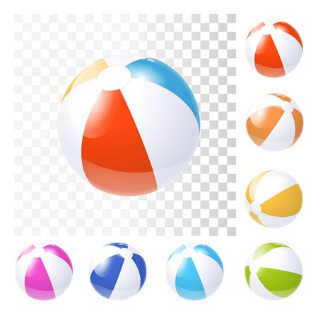 Colorful Various Inflatable Beach Balls. 3d Photo Realistic Vector Illustration
