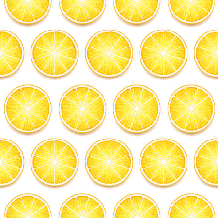 fresh Yellow Lemon Slices Seamless Pattern. Vector Photo Realistic Illustration 矢量图像