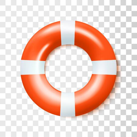 Classic Red Safety Inflatable Rubber Ring Isolated On Transparent Background. Vector Photo Realistic Illustration. Top View Vetores