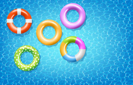 Colorful Inflatable Rings On Blue Water Surface. Vector Photo realistic Illustration. Top View
