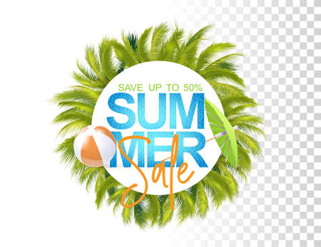 Bright Summer Sale Template With Photo Realistic Palms Leaves, Inflatable Ball, Water Texture And Umbrella. 免版税图像 - 151169554