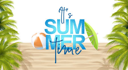 Bright Summer Template With Photo Realistic Palms Leaves, Inflatable Ball, Water Texture And Umbrella. 免版税图像 - 151169556