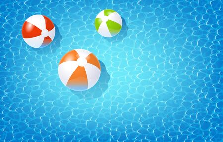 Blue Photo Realistic Water And Beach Balls In The Swimming Pool. Top View. Vector Illustration 免版税图像 - 149661997