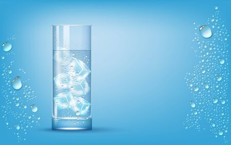 Transparent Photo Realistic Slightly Highball Glass With Clear Pure Water And Ice Cubes On Blue Background With Drops 矢量图像
