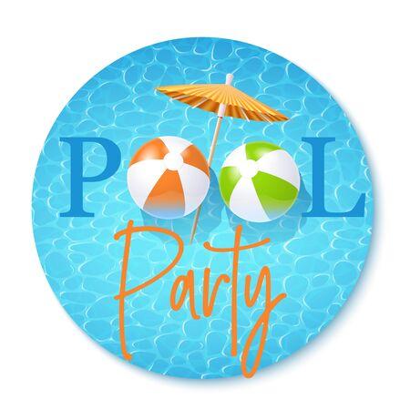 Summer Pool Party Invitation Template. Vector Round Illustration 矢量图像