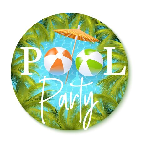 Summer Pool Party Invitation Template. Vector Round Illustration 矢量图像