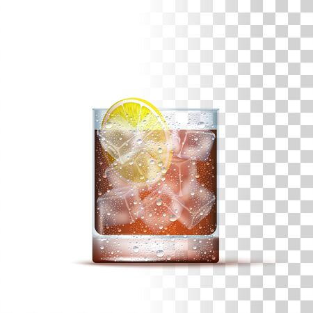 Cuba Libre Cocktail Served In The Slightly Glass With Lemon And Ice Cubes. Front View. 3d Photo Realistic Vector Illustration Isolated On Transparent Background
