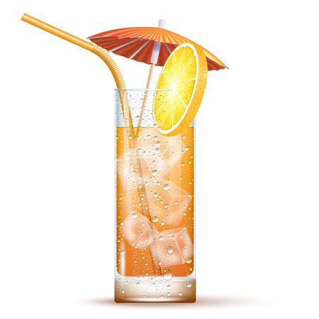 Screwdriver Cocktail Served In The Slightly Highball Glass With Orange Straw, Umbrella And Ice Cubes. Front View. 3d Photo Realistic Vector Illustration Isolated On Transparent Background