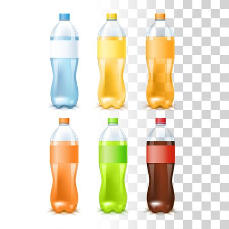 Set Of Soft Drinks In The Plastic Bottles With Label Templates On Transparent Background. Water, Juice, Soda, Cola. 3d Photo Realistic Vector Illustration 矢量图像