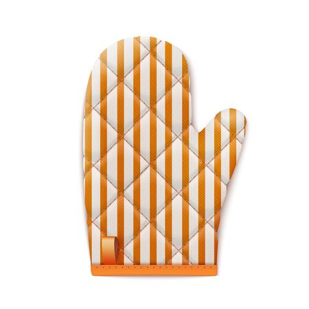 Striped Red Textile Cooking Glove Isolated On White Background. Top View. 3d Photo Realistic Vector Illustration 免版税图像 - 149662004