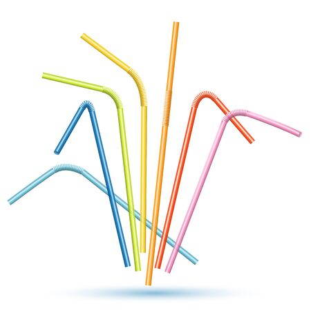 Set Of Colorful Cocktail Straws Isolated On White Background. Vector Photo Realistic Illustration