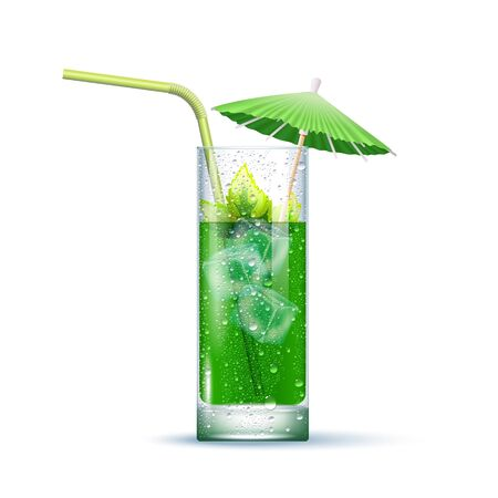 Mojito Cocktail Served In The Slightly Highball Glass With Green Straw, Mint Leaves, Umbrella And Ice Cubes. Front View. 3d Photo Realistic Vector Illustration Isolated On White Background