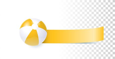 Bright Yellow Summer Banner With Beach Ball Illustration On Transparent Background