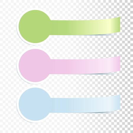 Colorful Incurved Banners Set With Realistic Shadow On Transparent Background