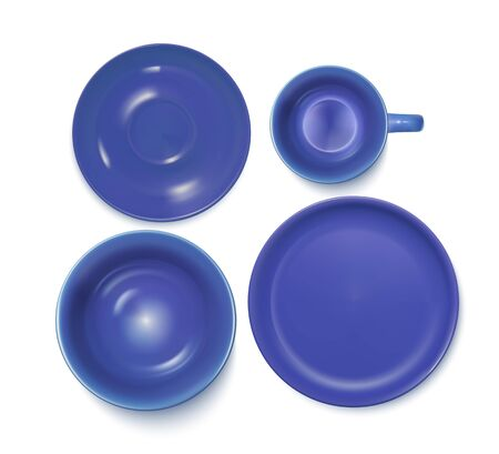 Blue Service Set: Plate, Soup-plate, Cup And Saucer. Top View. Vector Photo Realistic Illustration Isolated On White