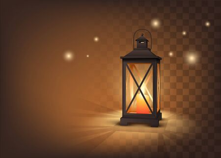 Cozy Metall Candle Lantern On Dark Transparent Background. Vetor Photo Realistic Illustration 矢量图像