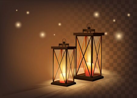 Cozy Vintage Candle Lanterns On Dark Transparent Background. Vetor Photo Realistic Illustration