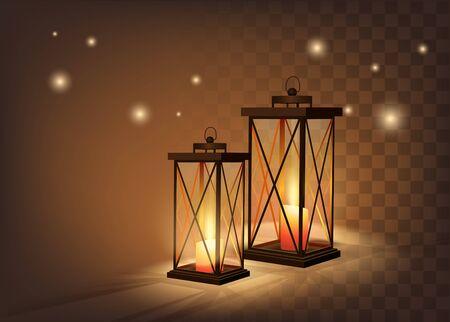 Cozy Vintage Candle Lanterns On Dark Transparent Background. Vetor Photo Realistic Illustration 免版税图像 - 149662017