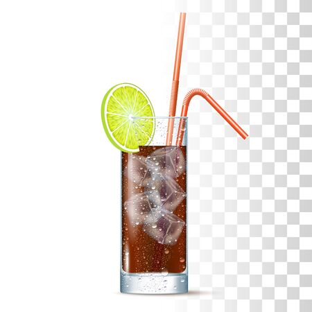 Long Island Cocktail Served In The Slightly Glass With Red Straws, Lime And Ice Cubes. Front View. 3d Photo Realistic Vector Illustration Isolated On Transparent Background 矢量图像