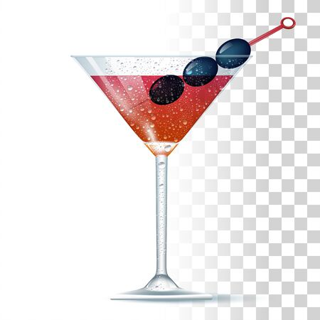 Manhattan Cocktail Served In The Slightly Glass With Olives. Front View. 3d Photo Realistic Vector Illustration Isolated On Transparent Background
