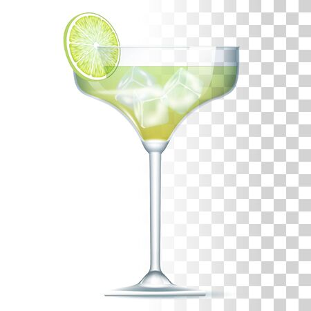 Margarita Cocktail Served In The Glass With Lime And Ice Cubes. Front View. 3d Photo Realistic Vector Illustration Isolated On Transparent Background 矢量图像