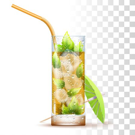 Mint Julep Cocktail Served In The Slightly Glass With Orange Straw, Mint Leaves, Umbrella And Ice Cubes. Front View. 3d Photo Realistic Vector Illustration Isolated On Transparent Background 矢量图像