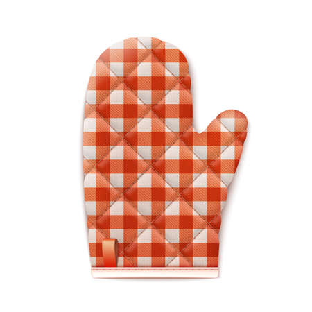 Checkered Red Textile Cooking Glove Isolated On White Background. Top View. 矢量图像
