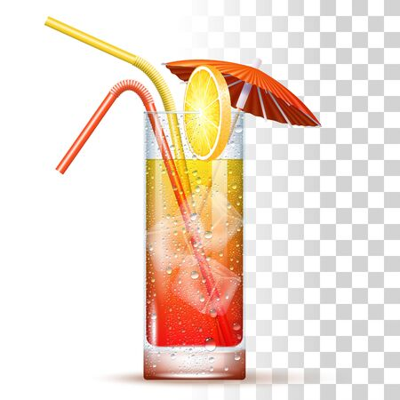 Tequila Sunrise Cocktail Served In The Slightly Highball Glass With Color Straws, Red Umbrella, Orange And Ice Cubes. Front View. 3d Photo Realistic Vector Illustration Isolated On Transparent Background 矢量图像