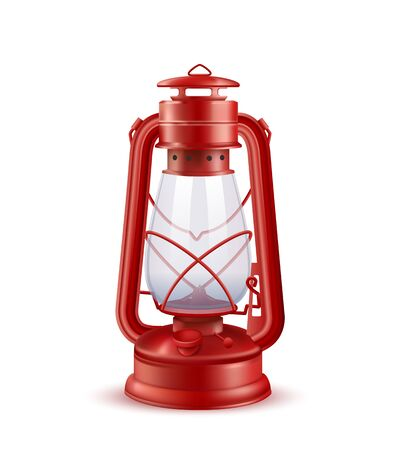 Vector Photo Realistic Camping Or Hurricane Lantern Isolated On White Background. Front View