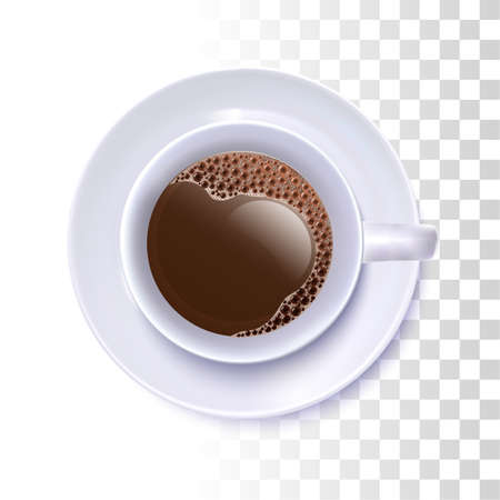 Vector Photo Realistic Coffee Cup  With Source On Transparent Background. Top View