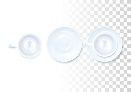 White Tea Service Set IOn Transparent Background. Top View. Vector Photo Realistic Illustration