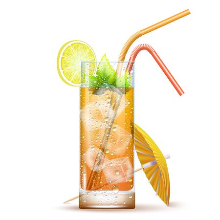 Tom Collins Cocktail Served In The Slightly Highball Glass With Color Straws, Umbrella, Lemon, Mint Leaves And Ice Cubes. Front View. 3d Photo Realistic Vector Illustration Isolated On Transparent Background
