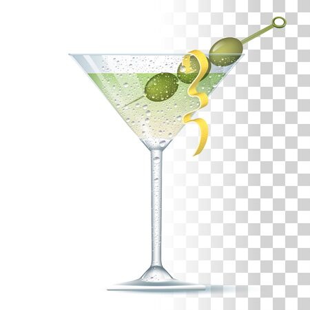 Vodka Martini Cocktail Served In The Slightly Glass With Olives And Lemon Spiral. Front View. 3d Photo Realistic Vector Illustration Isolated On Transparent Background
