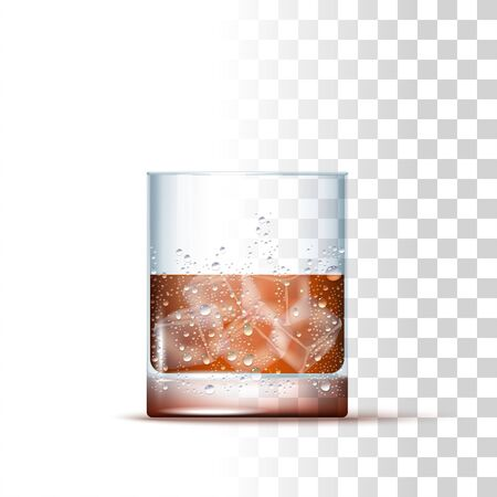 Whisky Alcoholic Drink Served In The Slightly Glass With Ice Cubes. Front View. 3d Photo Realistic Vector Illustration Isolated On Transparent Background