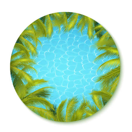 Summer Pool Background With Blue Water And Green Coconut Palms. 矢量图像