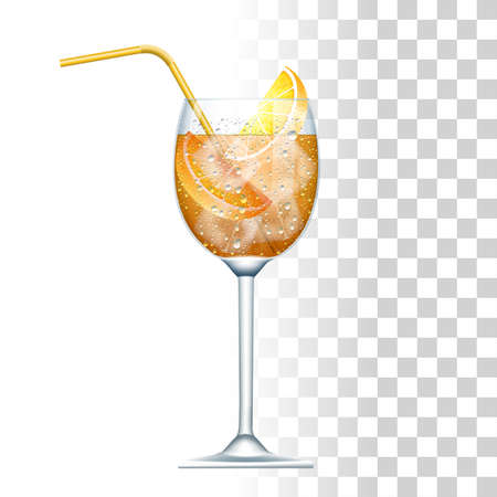 Cocktail Served In The Slightly Glass With Yellow Straw, Orange And Ice Cubes. Front View.