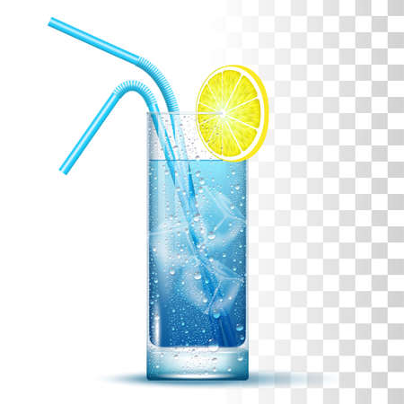 Blue Cocktail Served In The Slightly Highball Glass With Straws, Lemon And Ice Cubes. 矢量图像
