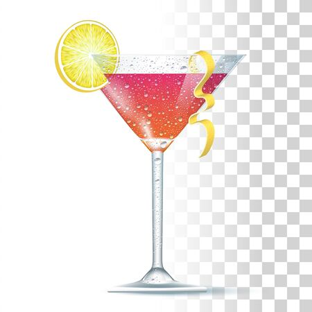 Cosmopolitan Cocktail Served In The Slightly Glass With Lemon Spiral. Front View. 3d Photo Realistic Vector Illustration Isolated On Transparent Background