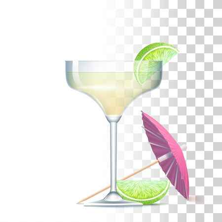 Daiquiri Cocktail Served In The Glass With Pink Umbrella And Lime. Front View. 3d Photo Realistic Vector Illustration Isolated On Transparent Background